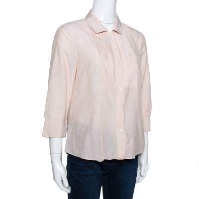 Boss by Hugo Boss Beige Cotton Silk Pleat Front Blouse M 292505 - 1
