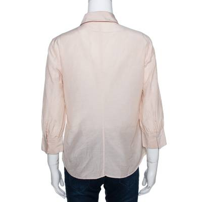 Boss by Hugo Boss Beige Cotton Silk Pleat Front Blouse M 292505 - 2