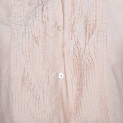 Boss by Hugo Boss Beige Cotton Silk Pleat Front Blouse M 292505 - 3