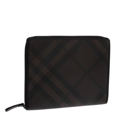 Burberry Brown Smoked Check Coated Canvas and Leather Tablet iPad 2 Case 294203 - 3