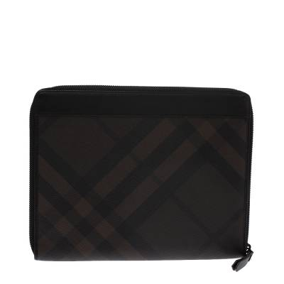 Burberry Brown Smoked Check Coated Canvas and Leather Tablet iPad 2 Case 294203 - 4