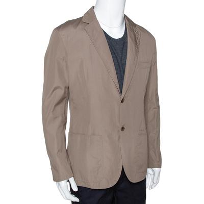 Hermes Dark Khaki Cotton Light Weight Two Buttoned Jacket XL 294202 - 1