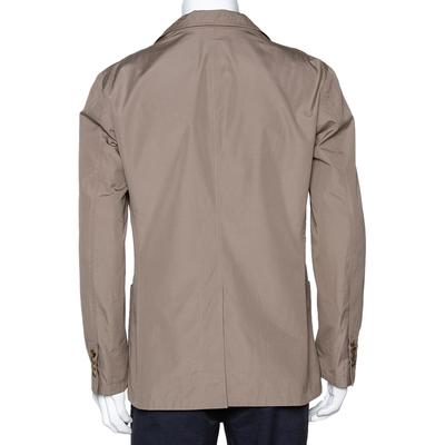 Hermes Dark Khaki Cotton Light Weight Two Buttoned Jacket XL 294202 - 2