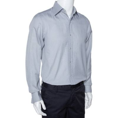Tom Ford Grey Textured Cotton Button Front Long Sleeve Shirt M 294200 - 1