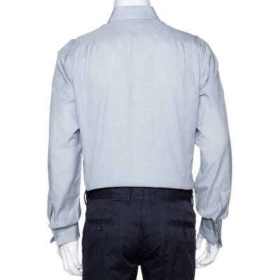 Tom Ford Grey Textured Cotton Button Front Long Sleeve Shirt M 294200 - 2