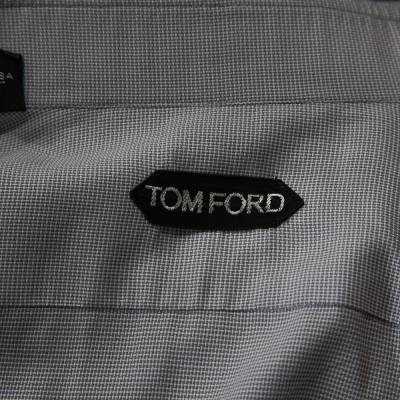 Tom Ford Grey Textured Cotton Button Front Long Sleeve Shirt M 294200 - 4