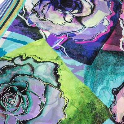 Roberto Cavalli Multicolor Floral Print Silk Scarf 292622 - 1