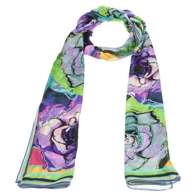 Roberto Cavalli Multicolor Floral Print Silk Scarf 292622 - 2