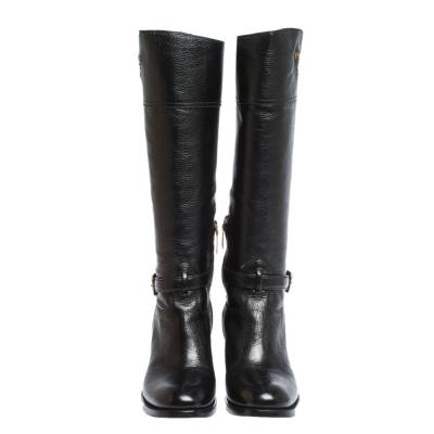 Prada Black Leather Knee Length Buckle Strap Boots Size 40 294683 - 2
