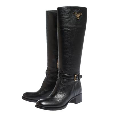 Prada Black Leather Knee Length Buckle Strap Boots Size 40 294683 - 3