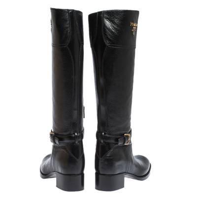 Prada Black Leather Knee Length Buckle Strap Boots Size 40 294683 - 4