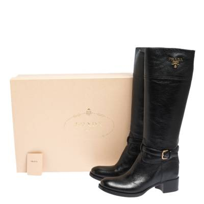 Prada Black Leather Knee Length Buckle Strap Boots Size 40 294683 - 7