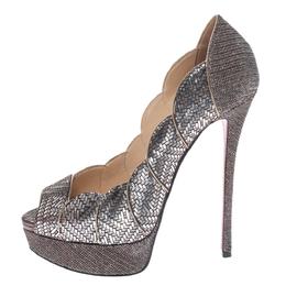 Christian Louboutin Silver Leather And Glitter Fabric Torsatoe Peep Toe Platform Pumps Size 39 294687