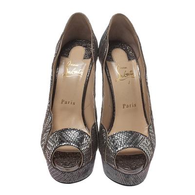 Christian Louboutin Silver Leather And Glitter Fabric Torsatoe Peep Toe Platform Pumps Size 39 294687 - 2