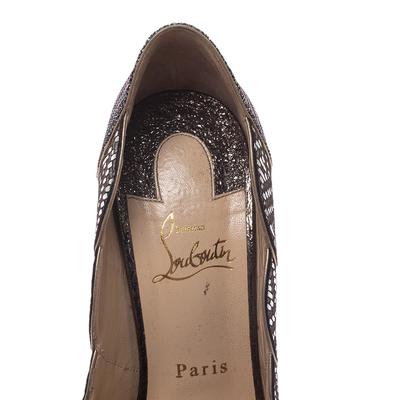 Christian Louboutin Silver Leather And Glitter Fabric Torsatoe Peep Toe Platform Pumps Size 39 294687 - 6
