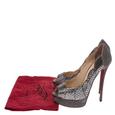 Christian Louboutin Silver Leather And Glitter Fabric Torsatoe Peep Toe Platform Pumps Size 39 294687 - 7