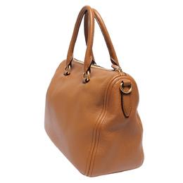 Prada Brown Vitello Phenix Leather Bauletto Bag 293813