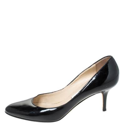 Jimmy Choo Black Leather Bridget Round Toe Pumps Size 38.5 294669 - 1