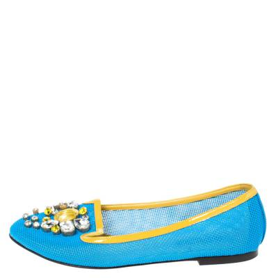Dolce&Gabbana Blue/Yellow Woven Leather And Patent Trim Crystal Embellished Ballet Flats Size 37 294508 - 1