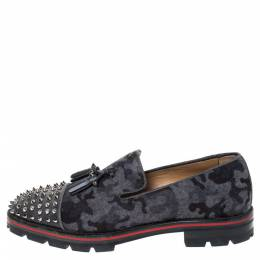 Christian Louboutin Grey Camouflage Wool and Leather Rossini Spike Cap Toe Loafers Size 43 294509