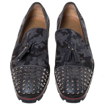 Christian Louboutin Grey Camouflage Wool and Leather Rossini Spike Cap Toe Loafers Size 43 294509 - 2