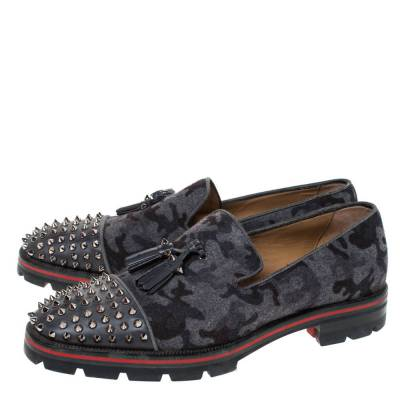 Christian Louboutin Grey Camouflage Wool and Leather Rossini Spike Cap Toe Loafers Size 43 294509 - 3