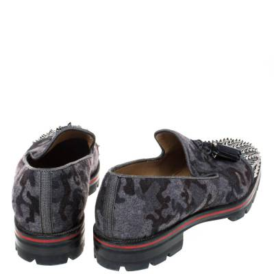 Christian Louboutin Grey Camouflage Wool and Leather Rossini Spike Cap Toe Loafers Size 43 294509 - 4