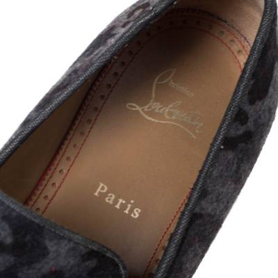 Christian Louboutin Grey Camouflage Wool and Leather Rossini Spike Cap Toe Loafers Size 43 294509 - 6