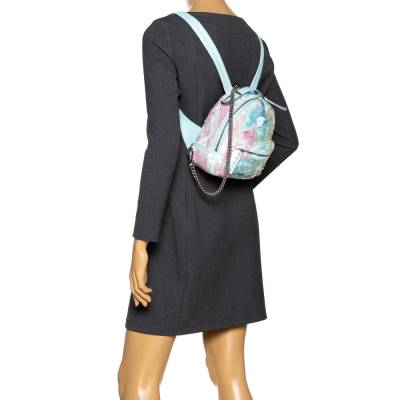 Versace Light Blue Suede and Leather Embellished Sequin Palazzo Medusa Backpack 293735 - 1