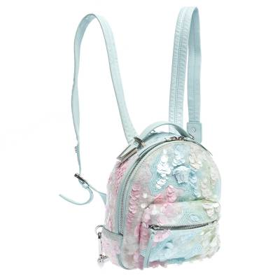 Versace Light Blue Suede and Leather Embellished Sequin Palazzo Medusa Backpack 293735 - 2