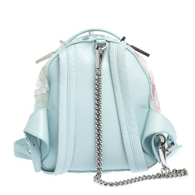 Versace Light Blue Suede and Leather Embellished Sequin Palazzo Medusa Backpack 293735 - 3