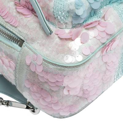 Versace Light Blue Suede and Leather Embellished Sequin Palazzo Medusa Backpack 293735 - 9