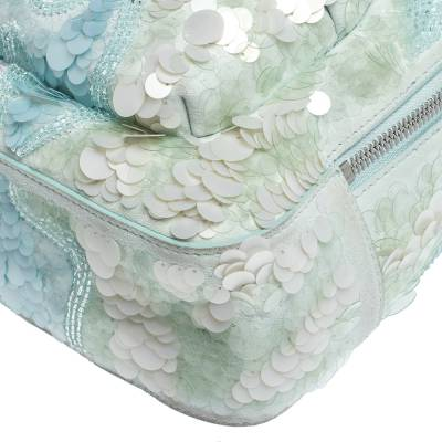 Versace Light Blue Suede and Leather Embellished Sequin Palazzo Medusa Backpack 293735 - 10