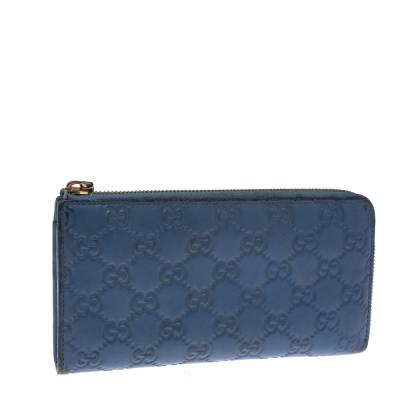 Gucci Sky Blue Guccissima Leather Zip Around Wallet 294247 - 2