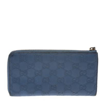 Gucci Sky Blue Guccissima Leather Zip Around Wallet 294247 - 3