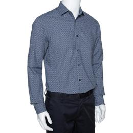Ermenegildo Zegna Navy Blue Printed Seer Sucker Cotton Shirt M 294246