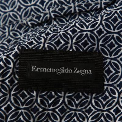 Ermenegildo Zegna Navy Blue Printed Seer Sucker Cotton Shirt M 294246 - 4