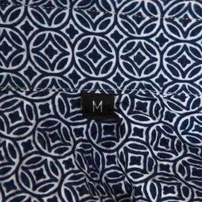 Ermenegildo Zegna Navy Blue Printed Seer Sucker Cotton Shirt M 294246 - 5