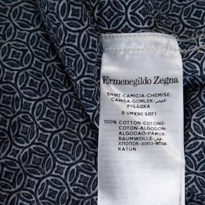 Ermenegildo Zegna Navy Blue Printed Seer Sucker Cotton Shirt M 294246 - 6