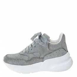 Alexander McQueen Silver Glitter Platform Lace Up Sneakers Size 35 292337