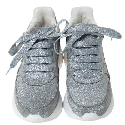 Alexander McQueen Silver Glitter Platform Lace Up Sneakers Size 35 292337 - 2