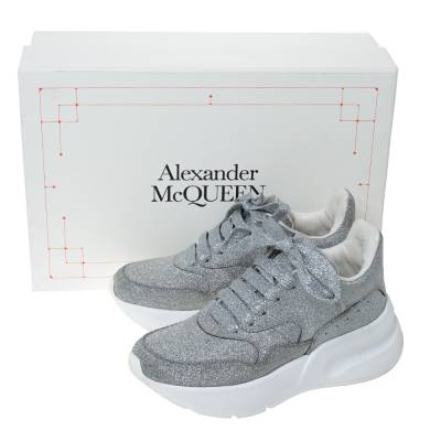 Alexander McQueen Silver Glitter Platform Lace Up Sneakers Size 35 292337 - 7