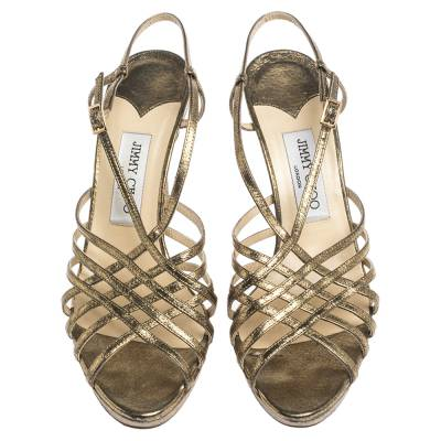 Jimmy Choo Metallic Bronze Lame Fabric Platform Cage Sandals Size 38.5 293797 - 2