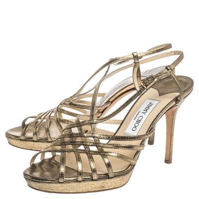 Jimmy Choo Metallic Bronze Lame Fabric Platform Cage Sandals Size 38.5 293797 - 3