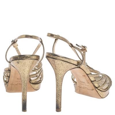 Jimmy Choo Metallic Bronze Lame Fabric Platform Cage Sandals Size 38.5 293797 - 4