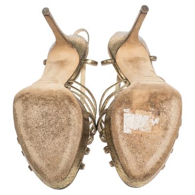 Jimmy Choo Metallic Bronze Lame Fabric Platform Cage Sandals Size 38.5 293797 - 5