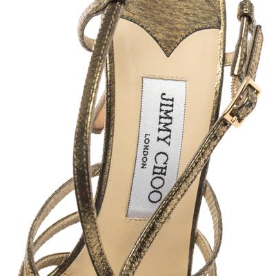 Jimmy Choo Metallic Bronze Lame Fabric Platform Cage Sandals Size 38.5 293797 - 6
