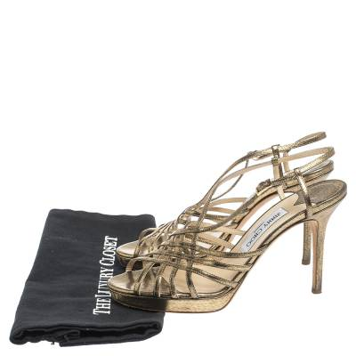 Jimmy Choo Metallic Bronze Lame Fabric Platform Cage Sandals Size 38.5 293797 - 7