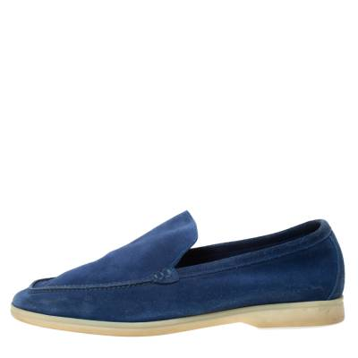 Loro Piana Blue Suede Slip On Loafers Size 45 293791 - 1