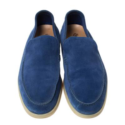 Loro Piana Blue Suede Slip On Loafers Size 45 293791 - 2
